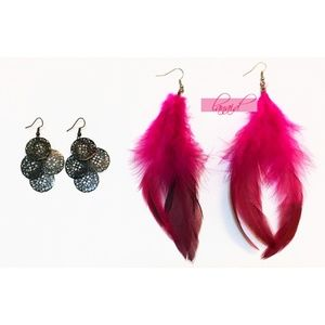 BUNDLE Black Dangly Hot Pink Ombre Feather Earring